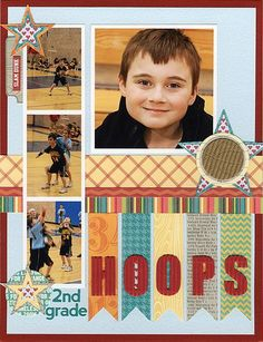 2nd Grade Hoops Layout by Laina Lamb for the June 2012 Designer Challenge using flags.  This layout uses Jillibean Soup's Patterned Papers, Coordinating Cardstock Stickers, Alphabeans, and Corrugated Alphas (via the Jillibean Soup blog).