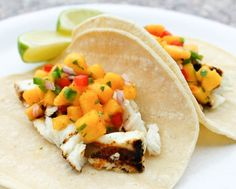 Memorial Day Side Dishes for a Crowd | Grilled Halibut Tacos with Peach Salsa by Homemade Recipes at http://homemaderecipes.com/bbq-grill/19-memorial-day-recipes