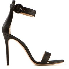 Gianvito Rossi Black Iridescent Leather High Heels Sandals (€520) ❤ liked on Polyvore featuring shoes, sandals, heels, high heels, sapatos, black buckle sandals, black sandals, black high heel sandals, black leather shoes e leather sandals
