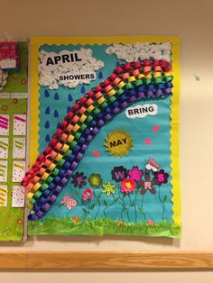 April and May Bulletin board!! April shower brings May flowers. Typical, but make it 3D!!