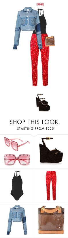 """1999babe"" by pawcreations ❤ liked on Polyvore featuring Gucci, T By Alexander Wang, MICHEL KLEIN, Misbehave and Louis Vuitton"