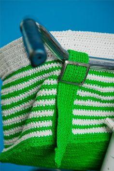 striped bicycle basket.