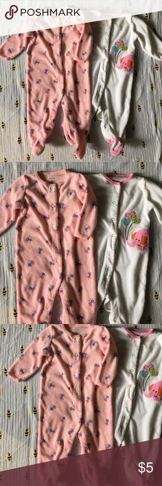 Bundle of Carters terry baby girl pajamas 2 for 1! Pink with floral print terry onesie and white with elephant and balloon terry onesie. Good condition no stains! Carter's One Pieces Bodysuits