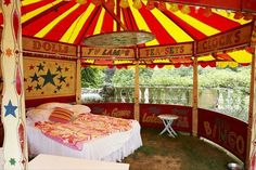 The circus bedroom, complete with a view.