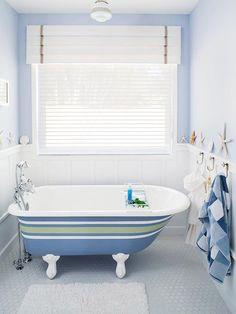Tub Transformation  Give an old tub a bold, new look and change the mood of your bathroom by painting the exterior with primer and paint made for porcelain. You can find the paint at home centers and paint stores.