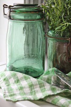 Lovely, Old French Jars, add sparkling Color to any Kitchen, ɭ0ƲᏋ Them~❥