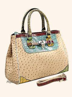 Mg Collection Ostrich Faux Crocodile Handbag