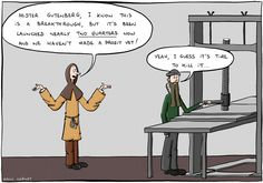 The comic shows Gutenberg (long beard, hat, green top, clothes from that period of time) operating his printing press, with a colleague (also clothes from back then, a brown hood on his head). The colleague says: 'Mister Gutenberg, I know this is a breakthrough, but it's been launched nearly _two quarters_ now and we haven't made a profit yet!'. Gutenberg replies: 'Yeah, I guess it's time to kill it...'.