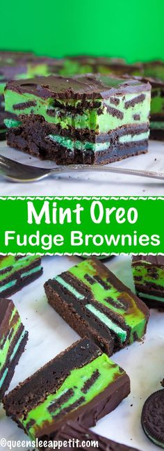 Mint, chocolate and Oreos all come together in these Mint Oreo Fudge Brownies. A fudgy mint brownie stuffed with mint Oreos, a chewy, melt-in-your-mouth mint Oreo fudge and a rich chocolate topping. These decadent bars are loaded with minty flavour! Mint Chocolate, Chocolate Desserts, Chocolate Topping, Oreo Desserts, Chocolate Chips, Oreo Fudge, Fudge Brownies, Mint Brownies, Cheesecake Brownies