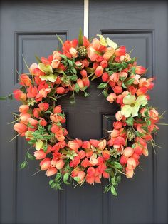Tulip Wreaths Spring Tulip Door Wreaths Coral by WreathsByRebeccaB