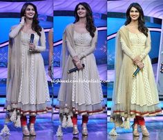 Wearing Tarun Tahiliani, Vaani promoted her upcoming movie on the sets of a television show. Red lips, blown out hair and metallic sandals finished out her look. I like that she didn't find the need to add chunky, statement-ey pieces of jewelry to the look. She looked nice!