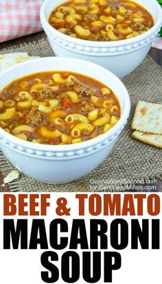 Beef and Tomato Macaroni Soup – CentsLess Meals This Beef and Tomato Macaroni Soup recipe combines the goodness of tomato, flavorful ground beef and tender pasta to create a delicious, hearty soup that your family will love! Tomato Macaroni Soup Recipe, Hamburger Macaroni Soup, Stewed Tomato Recipes, Elbow Macaroni Recipes, Cabbage Recipes, Spinach Recipes, Healthy Soup Recipes, Cooking Recipes, Diabetic Recipes