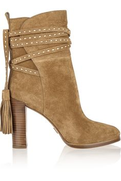 Heel measures approximately 90mm/ 3.5 inches Tan suede Ties at ankle Designer color: Camel
