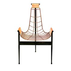 Spider Chair - Simple geometrical lined with a square structural base in burnished iron by Materika Design- Artemest