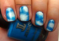 Cloud nails! Could probably also use dotting tools to make more uniform clouds. From polish my mind.