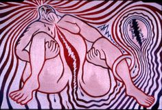 The Birth Project, Judy Chicago collaborated with over 150 needleworkers to create dozens of images combining needlework, spraypainting, and painting that celebrates the gift of life and birth. It represents all aspects of the birthing process- from the painful to the mystical.
