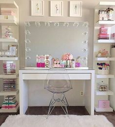 The makeup room design matters. The better designed it is, the easier things get. The makeup room design matters. The better designed it is, the easier things get. If you do, check out our 16 makeup room ideas here. Cute Bedroom Ideas, Cute Room Decor, Girl Bedroom Designs, Teen Room Decor, Room Ideas Bedroom, Bedroom Decor, Bed Room, Bedroom Ceiling, Blue Bedroom