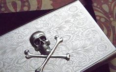 Business Card Case Skull & Crossbones Antique Vintage Inspired Most Popular Gothic Victorian Pirate Metal Wallet Silver Plated Card Case