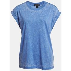 Topshop Oversized Burnout Tee ($32) ❤ liked on Polyvore featuring tops, t-shirts, shirts, blusas, camisas, cobalt, oversized shirt, ripped shirts, vintage t shirts and vintage tees