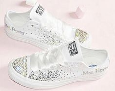 8618920c5784 Luxe Crystal Custom Converse Personalised Wedding Bridal Name Mono White  Sneakers Personalized Customized Bride Mrs Shoes Women s Girls