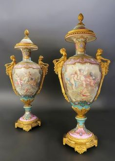 Exceptional Bronze Mounted Sèvres Urns.