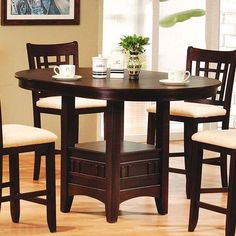 Update your kitchen or dining room with the Acme Furniture Lugano Dark Walnut Bar Height Dining Table for a charming, transitional style centerpiece. Round Pub Table, Bar Height Dining Table, Square Tables, Dining Room Sets, Dining Room Table, Dining Area, High Top Tables, Patio Bar Set, Acme Furniture