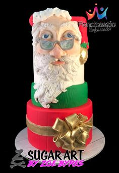 This cake was made as a demonstration piece for a recent Cake Expo. Hand sculptured from only Fondtastic Fondant (no modelling chocolate) and additional colours added with Rolkem. Christmas Themed Cake, Christmas Cakes, Beautiful Cakes, Amazing Cakes, Santa Cake, Sculpting Tutorials, Hand Sculpture, Modeling Chocolate, Cake Decorating Techniques