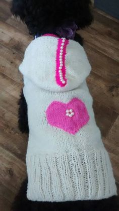 Hand knitted Valentines day  dog sweater Hoodie in by CUTIEDOG