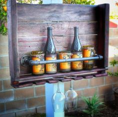Items similar to Custom Wine Rack made from up-cycled barn wood, pallet wood, and industrial piping on Etsy Wood Wine Racks, Industrial Pipe, Wood Pallets, Barn Wood, Wines, Liquor Cabinet, Upcycle, Storage, Handmade Gifts