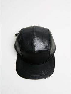 5 panel cap black leather