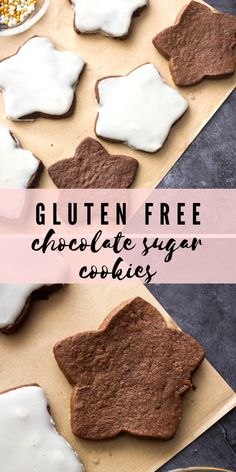 These chocolate cut-out cookies are SO rich and easy to make! You can decorate with royal icing or just enjoy them plain. These are perfect for Christmas or year-round. #chocolatecookies #sugarcookies #cutoutcookies #glutenfree #christmascookies Gluten Free Chocolate Cookies, Paleo Cookies, Gluten Free Treats, Homemade Cookies, Gluten Free Cookies, Chocolate Desserts, Iced Sugar Cookie Recipe, Sugar Cookies From Scratch, Iced Sugar Cookies