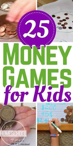 25 FUN Money Games - These creative and unique money games for kids are a great way to help kids practice counting money. Money Activities with Kids Counting Money Games, Money Math Games, Money Games For Kids, Money Activities, Math Activities For Kids, Math For Kids, Counting Coins, Summer Activities, Counting Activities