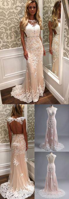 Lace Backless Prom Dress #dressesofgirl #lace_dresses #promdress
