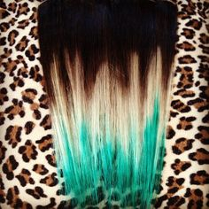 Brown to blonde to turquoise Intense Extensions ombre hair on Instagram
