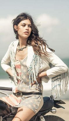 Boho chic necklace with modern hippie fringed moto jacket. For the BEST bohemian fashion trends FOLLOW > https://www.pinterest.com/happygolicky/the-best-boho-chic-fashion-bohemian-jewelry-gypsy-/ < now.