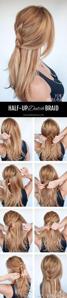 Easy everyday hair – Half-up Dutch braid tutorial