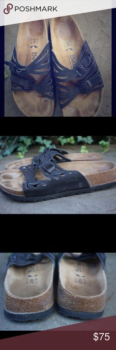 Betula Birkenstock black leather sandals size 8 Birkenstock Betula black leather two strap sand size 8/ 39. Great condition! Birkenstock Shoes Sandals