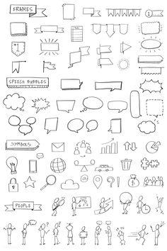 premium vector of Hand drawn visual thinking elements vector set Hand drawn visual thinking elements vector set Bullet Journal School, Bullet Journal Boxes, Bullet Journal Titles, Bullet Journal Banner, Bullet Journal Notebook, Bullet Journal Aesthetic, Bullet Journal Inspiration, Bullet Journal Vectors, Note Doodles