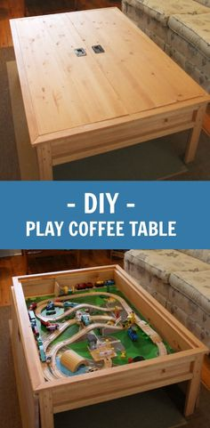 This DIY Coffee Table Hides A Train Play Table!