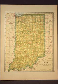 Indiana Map Indiana Antique Railroad Original 1920s Yellow