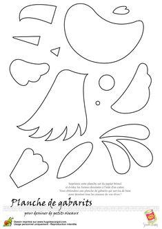 Différentes parties du corps d'un oiseau à colorier puis à assembler comme un puzzle