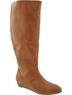 "Avg. 17"" circumference / Old Navy Wide Calf Boots in cognac or black $49.94"