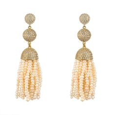 Tassel Ball Earring Fresh Water Pearls
