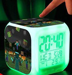 Minecraft Alarm Clock Creeper Clock with LED Multifunction Night Light