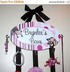 St. Patricks Day Sale Deluxe HAIR BOW HOLDER - Personalized Pink Pop Monkey HairBow Holder - Headbands, Bows, Clips and Girls Jewellery Orga