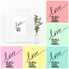 Beatles Printables • All You Need Is Love • Little Gold Pixel • shoplittlegoldpixel.com