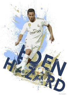 'Eden Hazard - Real Madrid FC Artwork' by Armaan Eden Hazard Wallpapers, Football Art, Chelsea Football, Hazard Real Madrid, Real Madrid Wallpapers, Hazard Chelsea, Santiago Bernabeu, Real Madrid Players, Messi And Ronaldo