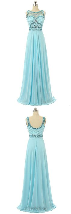 Long Prom Dresses Blue,A-line Prom Dresses 2018,Scoop Neck Formal Dresses Chiffon, Beading Prom Dresses for Teens