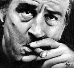 Portrait of Robert De Niro by Dead-Beat-Nick on Stars Portraits Famous Men, Famous Celebrities, Famous People, Famous Faces, Celebs, Al Pacino, Marlon Brando, Famous Cigars, Gaspard Ulliel