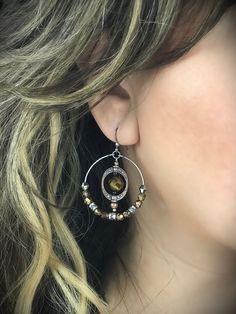 Hoop Earrings with Glass Bead Center – Belvie Jewelry